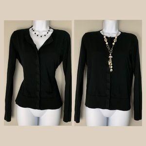 LOFT Black Cardigan Hidden Button Sweater S A2